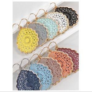 Jewelry - Wine Mandala Teardrop Earrings